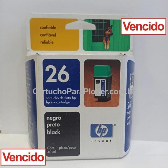 Cartucho de Tinta HP 26 - Cor Preto 40 ml - 51626a Vencido