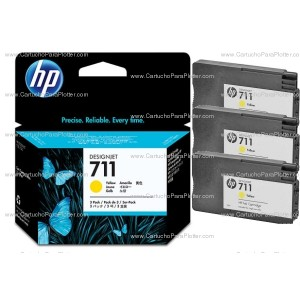 Cartucho HP 711 Pacote Triplo - Tinta Amarelo 29 ml - CZ136A