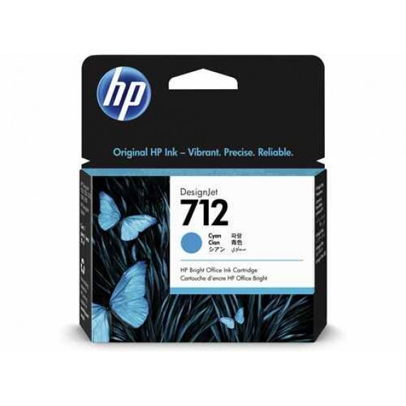 Cartucho HP 712 - Tinta Ciano 29 ml - 3ED67A