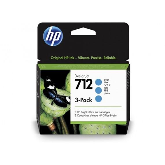 Cartucho HP 712 Pacote Triplo - Tinta Ciano 29 ml - 3ED77A