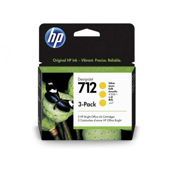Cartucho HP 712 Pacote Triplo - Tinta Amarelo 29 ml - 3ED79A
