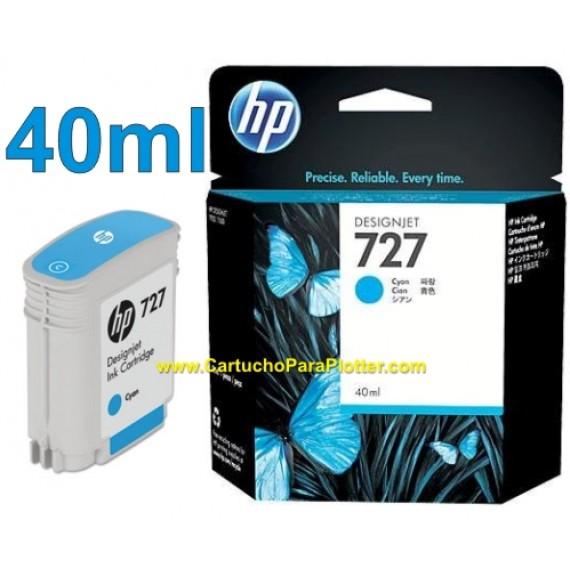 Cartucho HP 727 - Tinta Ciano 40 ml - B3P13A para Plotter HP Designjet T920, T930, T1500, T1530, T2500 e T2530