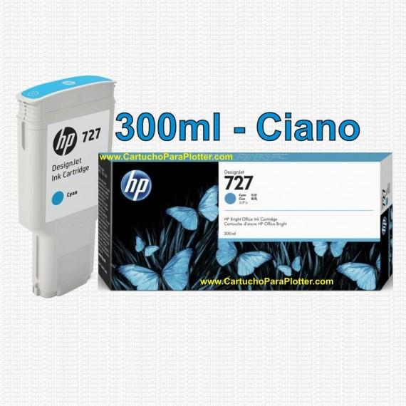Cartucho HP 727 - Tinta Ciano 300 ml - F9J76A para Plotter HP Designjet T920, T930, T1500, T1530, T2500 e T2530