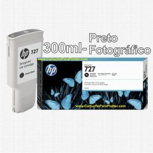 Cartucho HP 727 - Tinta Preto Fotografico 300 ml - F9J79A para Plotter HP Designjet T920, T930, T1500, T1530, T2500 e T2530