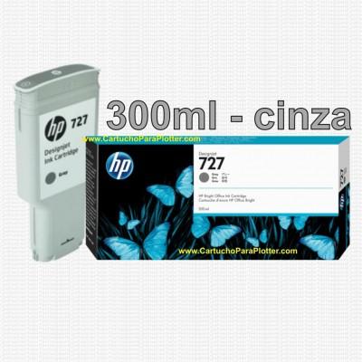Cartucho HP 727 - Tinta Cinza (Gray) 300 ml - F9J80A para Plotter HP Designjet T920, T930, T1500, T1530, T2500 e T2530
