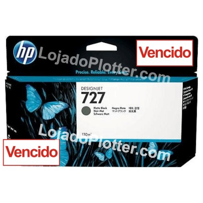 Cartucho HP 727 - Tinta Preto Fosco (MK) 130 ml - B3P22A - VENCIDO para Plotter HP Designjet T920, T930, T1500, T1530, T2500 e T2530 - VENCIDO