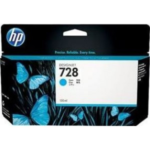 Cartucho de Tinta HP 728 - Tinta Ciano 130 ml - F9J67A para Plotter HP T730 e T830