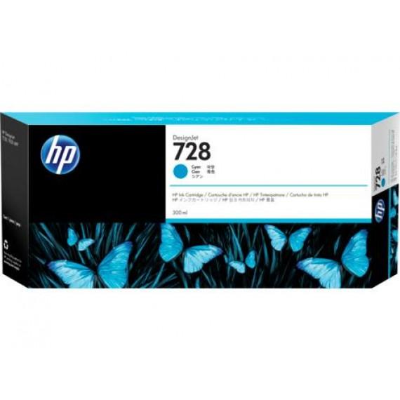 Cartucho de Tinta HP 728 - Tinta Ciano (C) 300 ml - F9K17A para Plotter HP T730 e T830