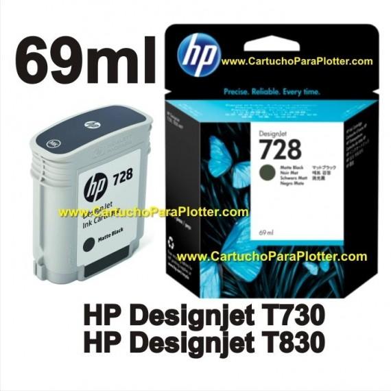 Cartucho de Tinta HP 728 - Tinta Preto Fosco (MK) 69ml - F9J64A para Plotter HP T730 e T830