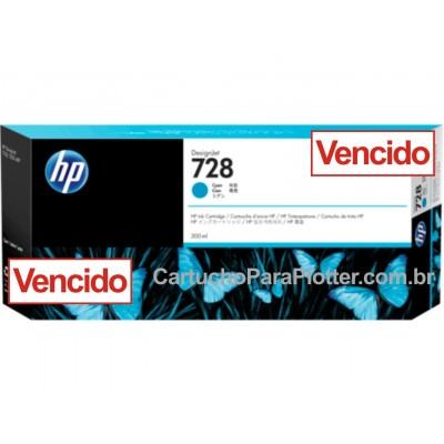 Cartucho de Tinta HP 728 - Tinta Ciano (C) 300 ml - F9K17A VENCIDO para Plotter HP T730 e T830