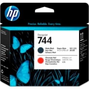 F9J88A Cabeca de impressao DesignJet HP 744 preto fosco e vermelho cromatico