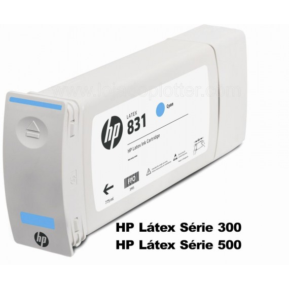 Cartucho Plotter HP Latex cor Ciano HP 831A de 775ml Plotter HP - CZ683A
