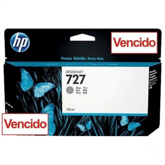 Cartucho HP 727 - Tinta Cinza 130 ml - B3P24A para Plotter HP Designjet T920, T930, T1500, T1530, T2500 e T2530 - Vencido
